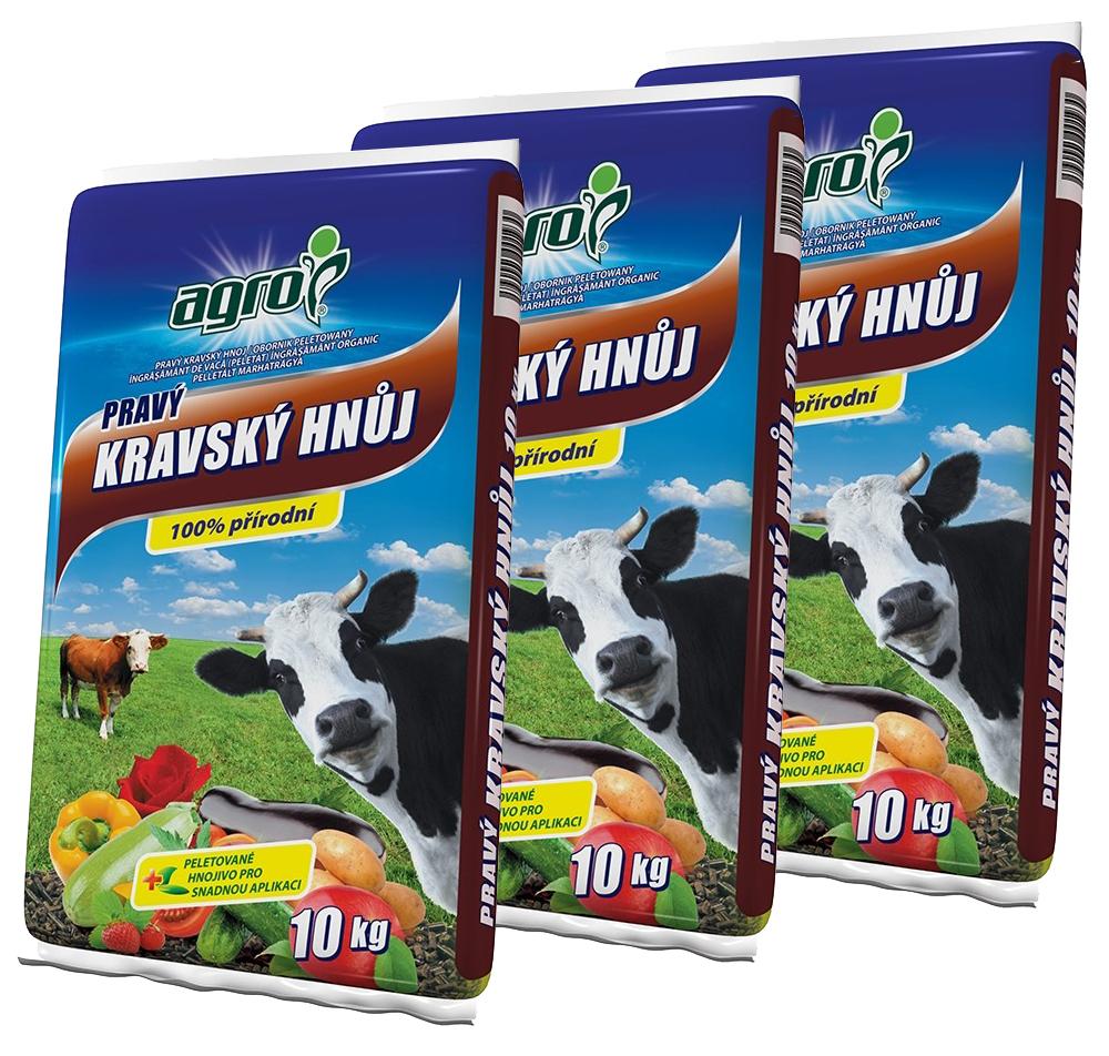 AGRO Kravský hnoj 3 x 10 kg